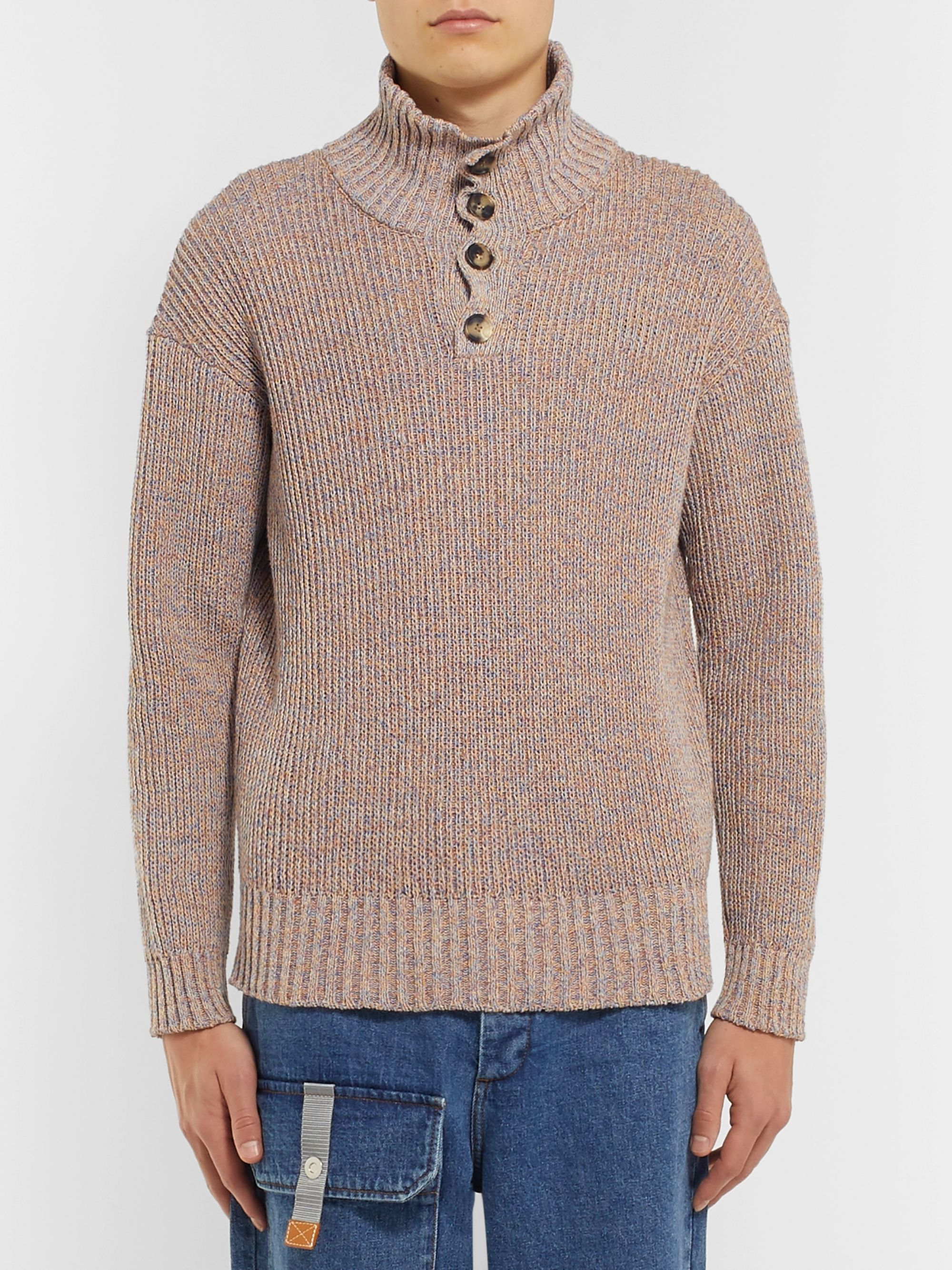 Loewe Ribbed Mélange Cotton-Blend Henley Sweater