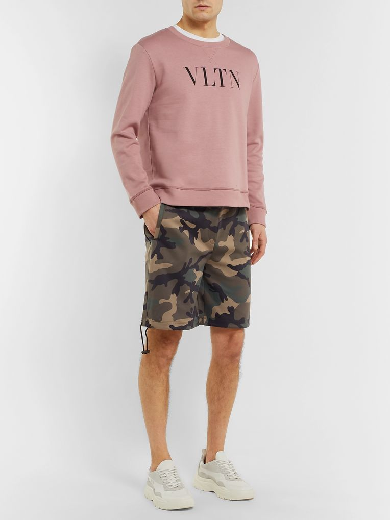 Valentino Camouflage-Print Fleece-Back Jersey Drawstring Shorts