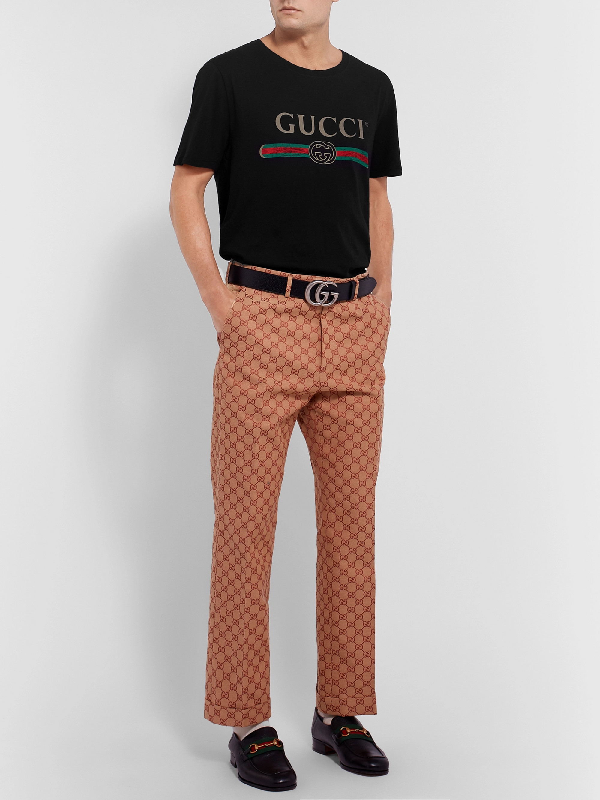 Gucci Distressed Logo-Print Cotton-Jersey T-Shirt