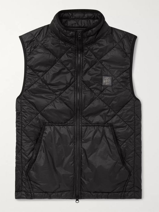 Stone Island Logo-Appliquéd Garment-Dyed Quilted Shell Gilet
