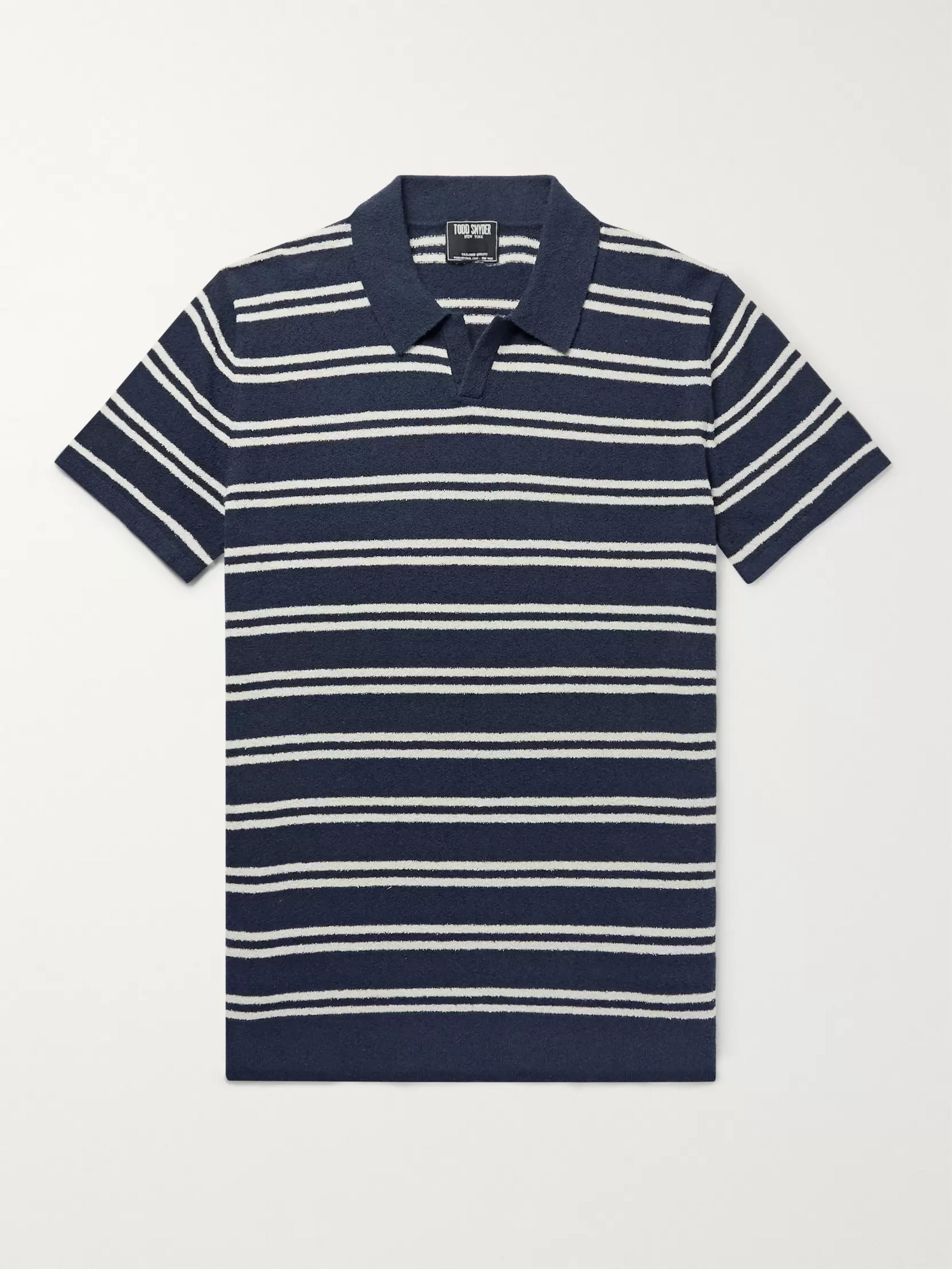 Todd Snyder Striped Cotton-Blend Bouclé Polo Shirt