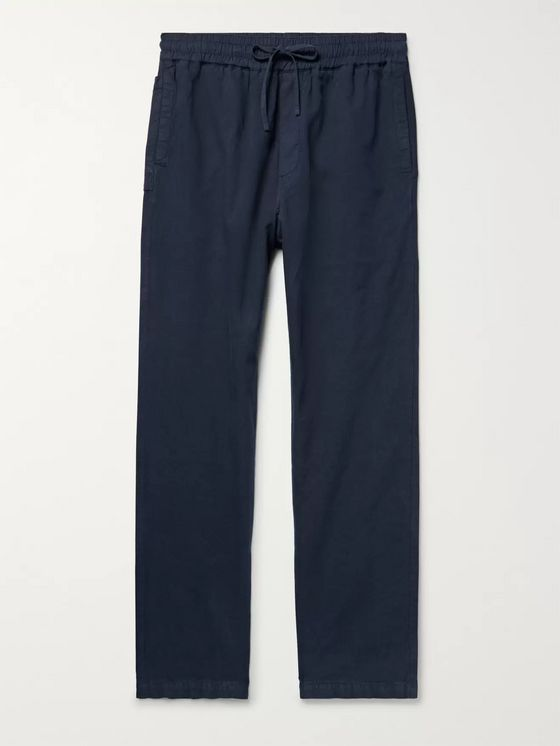 YMC Navy Cotton and Linen-Blend Drawstring Trousers