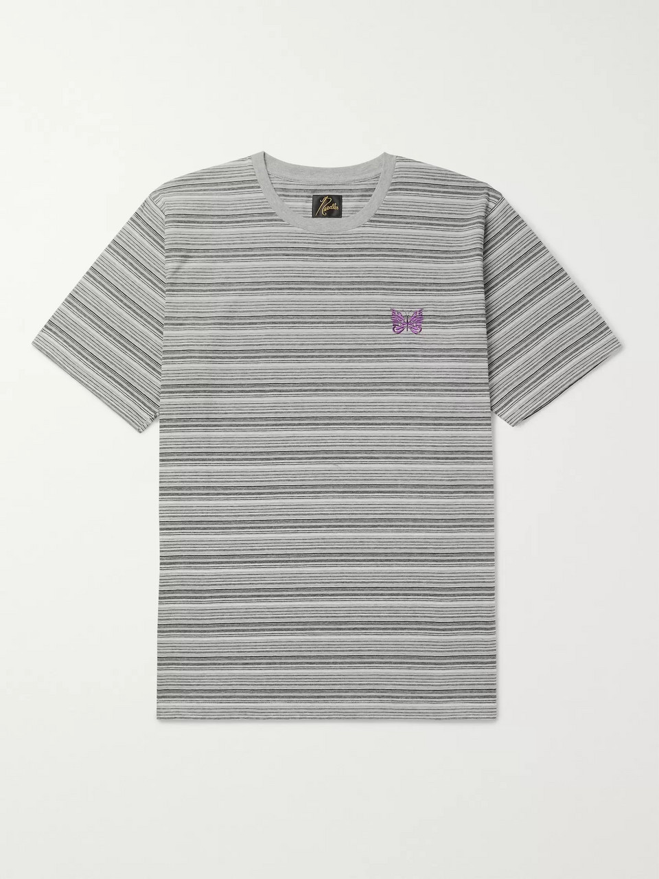 Needles Embroidered Striped Cotton-Jersey T-Shirt