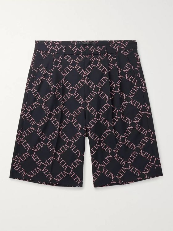 Valentino Pleated Logo-Print Wool and Mohair-Blend Shorts