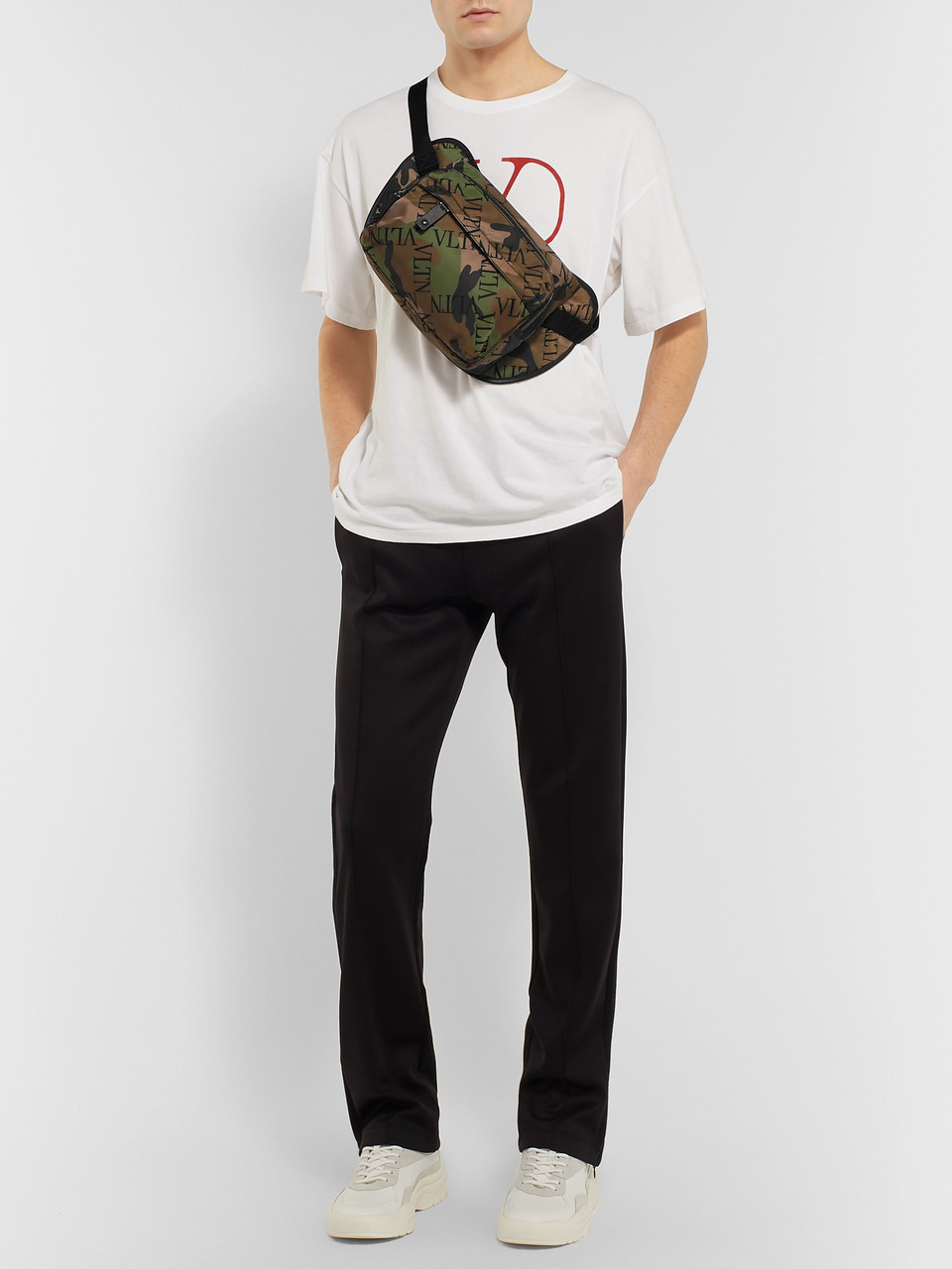 Valentino Valentino Garavani Leather-Trimmed Printed Nylon Belt Bag