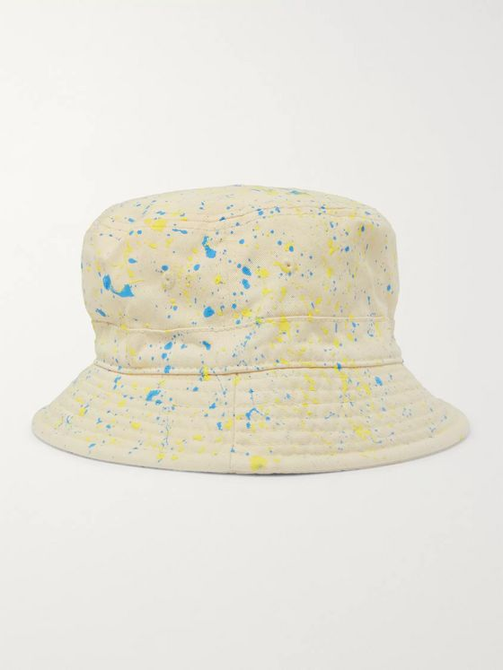 Palm Angels Paint-Splattered Cotton-Twill Bucket Hat