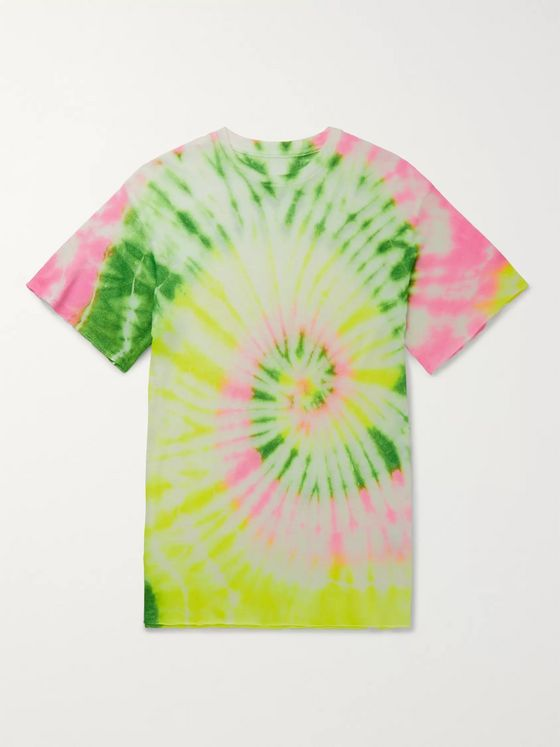 The Elder Statesman Slim-Fit Neon Tie-Dyed Cashmere and Silk-Blend T-Shirt
