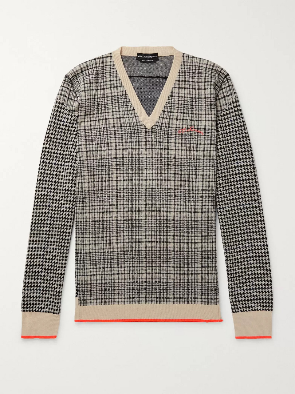 Alexander McQueen Houndstooth and Checked Wool Sweater