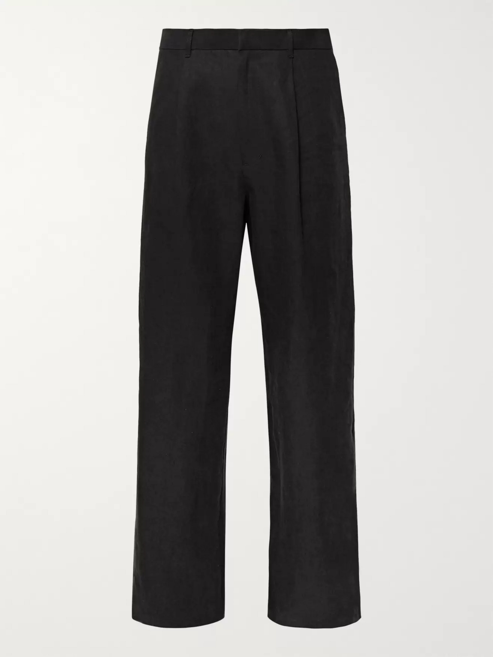 Auralee Wide-Leg Pleated Washed-Linen Trousers