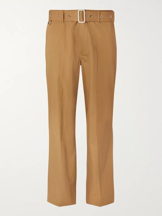 Burberry Wide-Leg Belted Cotton-Twill Trousers