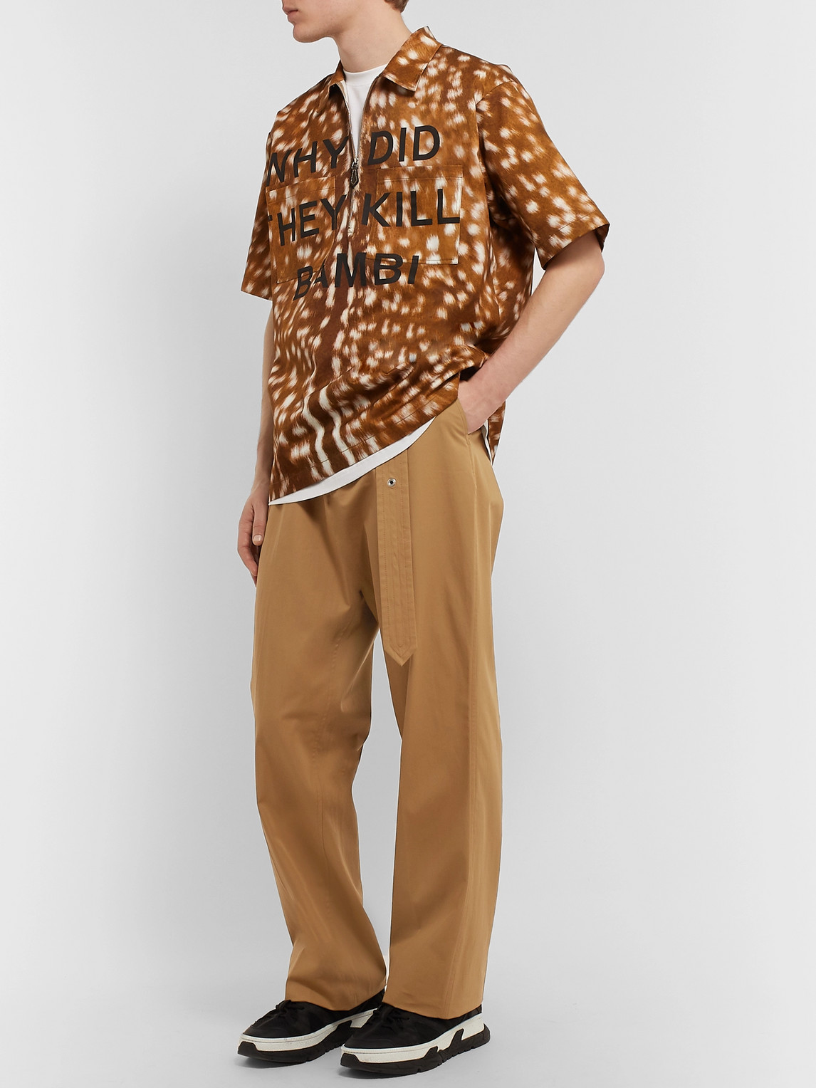 Burberry Pants WIDE-LEG BELTED COTTON-TWILL TROUSERS