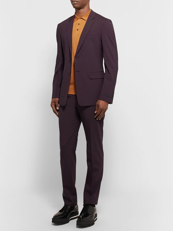 Prada Navy Tela Slim-Fit Stretch Virgin Wool Suit