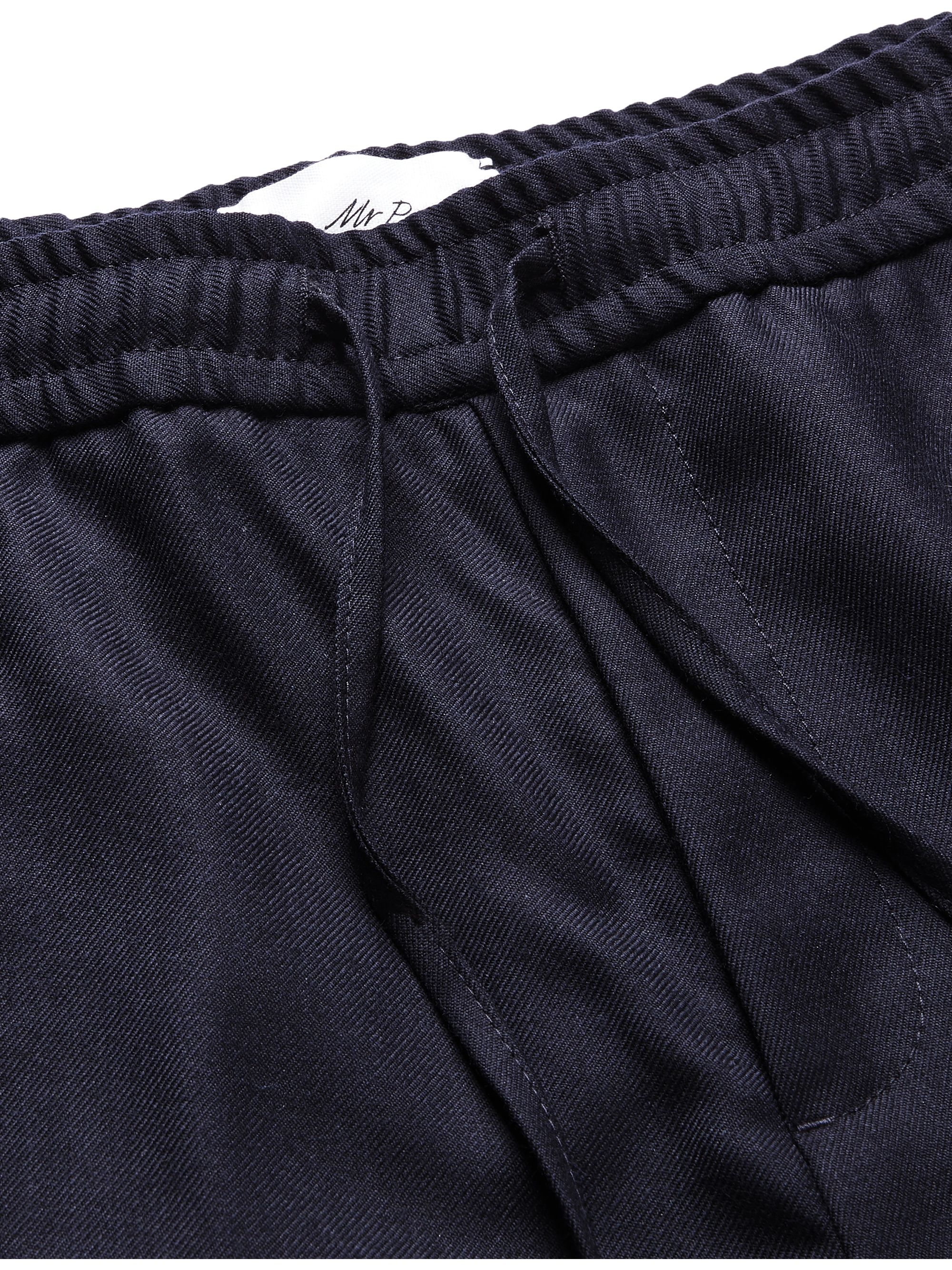 Mr P. Slim-Fit Midnight-Blue Worsted-Wool Drawstring Trousers