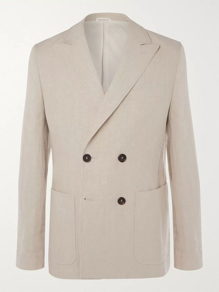 Oliver Spencer Double-Breasted Linen Suit Jacket