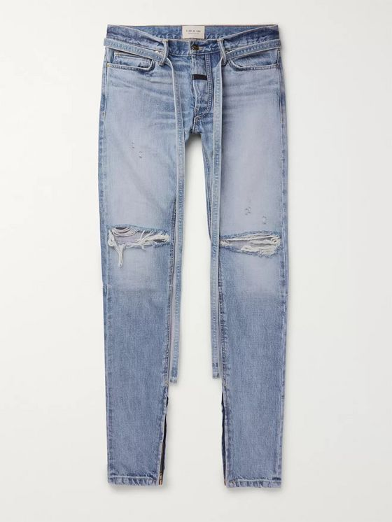 Fear of God Straight-Leg Tapered Belted Distressed Selvedge Denim Jeans