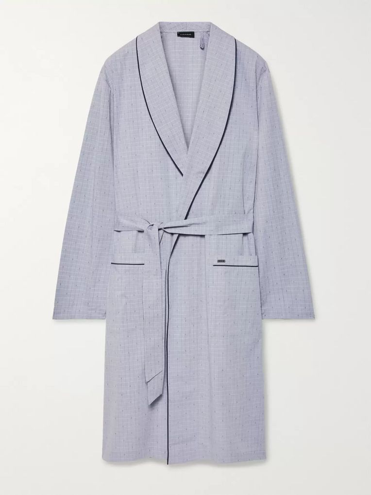 Hanro Theo Checked Mercerised Cotton Robe