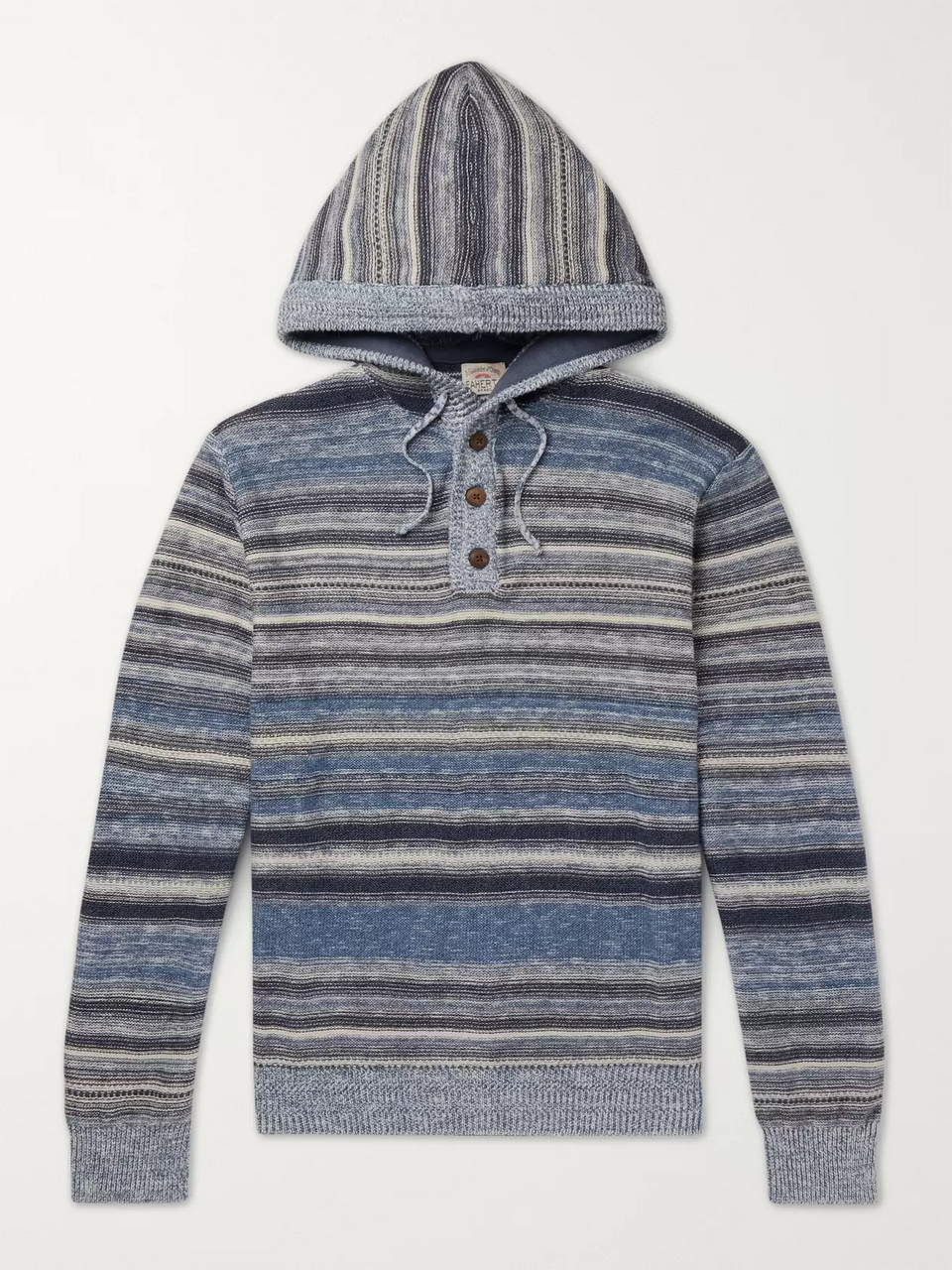 Faherty Baja Slim-Fit Striped Knitted Hoodie