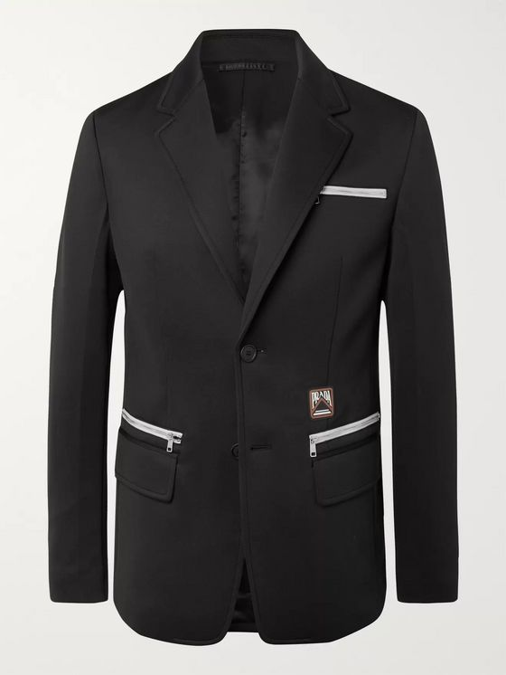 Prada Black Slim-Fit Logo-Appliquéd Stretch-Jersey Blazer