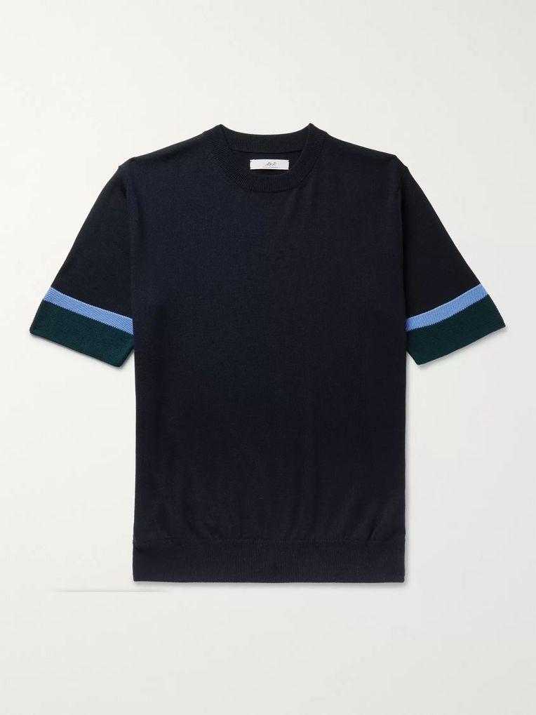 Mr P. Striped Merino Wool T-Shirt