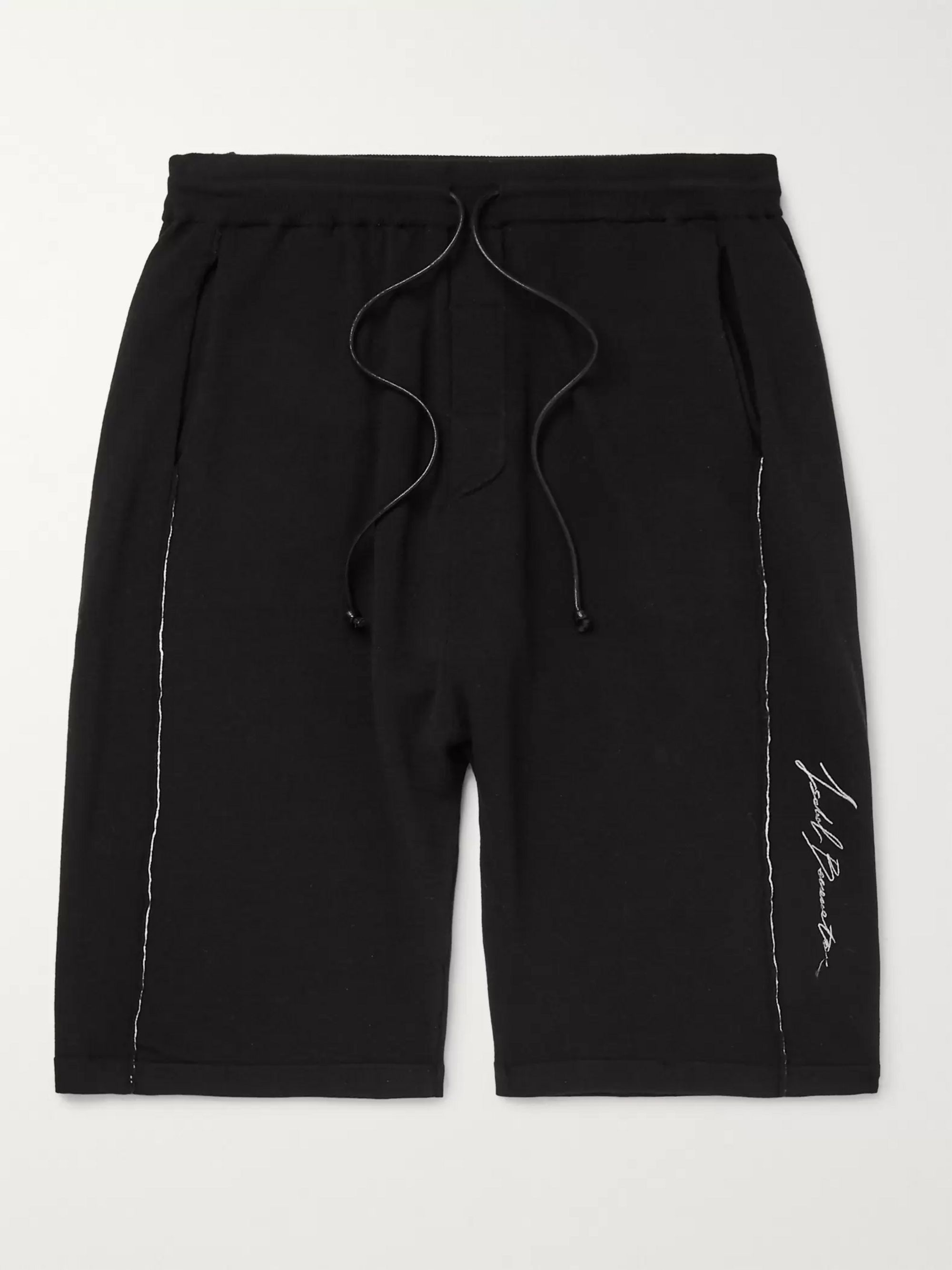 Isabel Benenato Slim-Fit Embroidered Loopback Jersey Shorts
