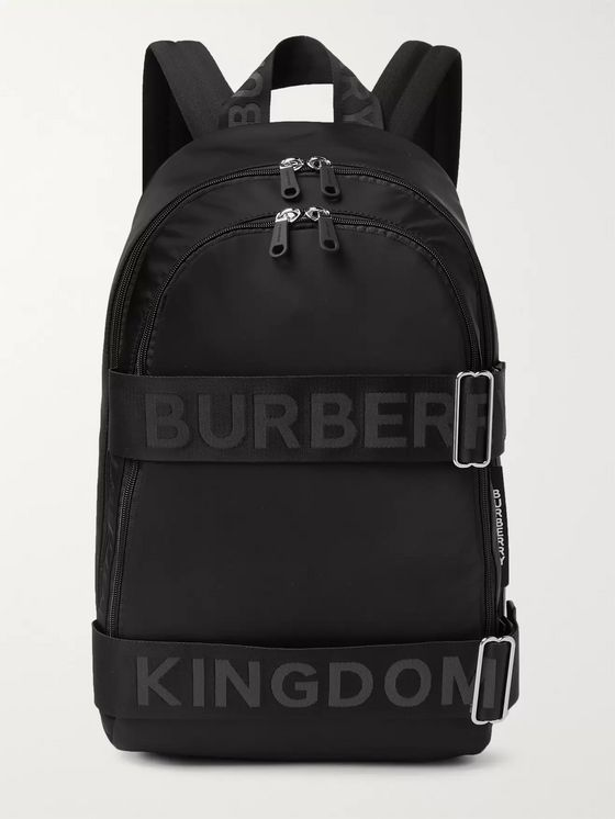 Burberry Logo-Jacquard Webbing and Leather-Trimmed Shell Backpack