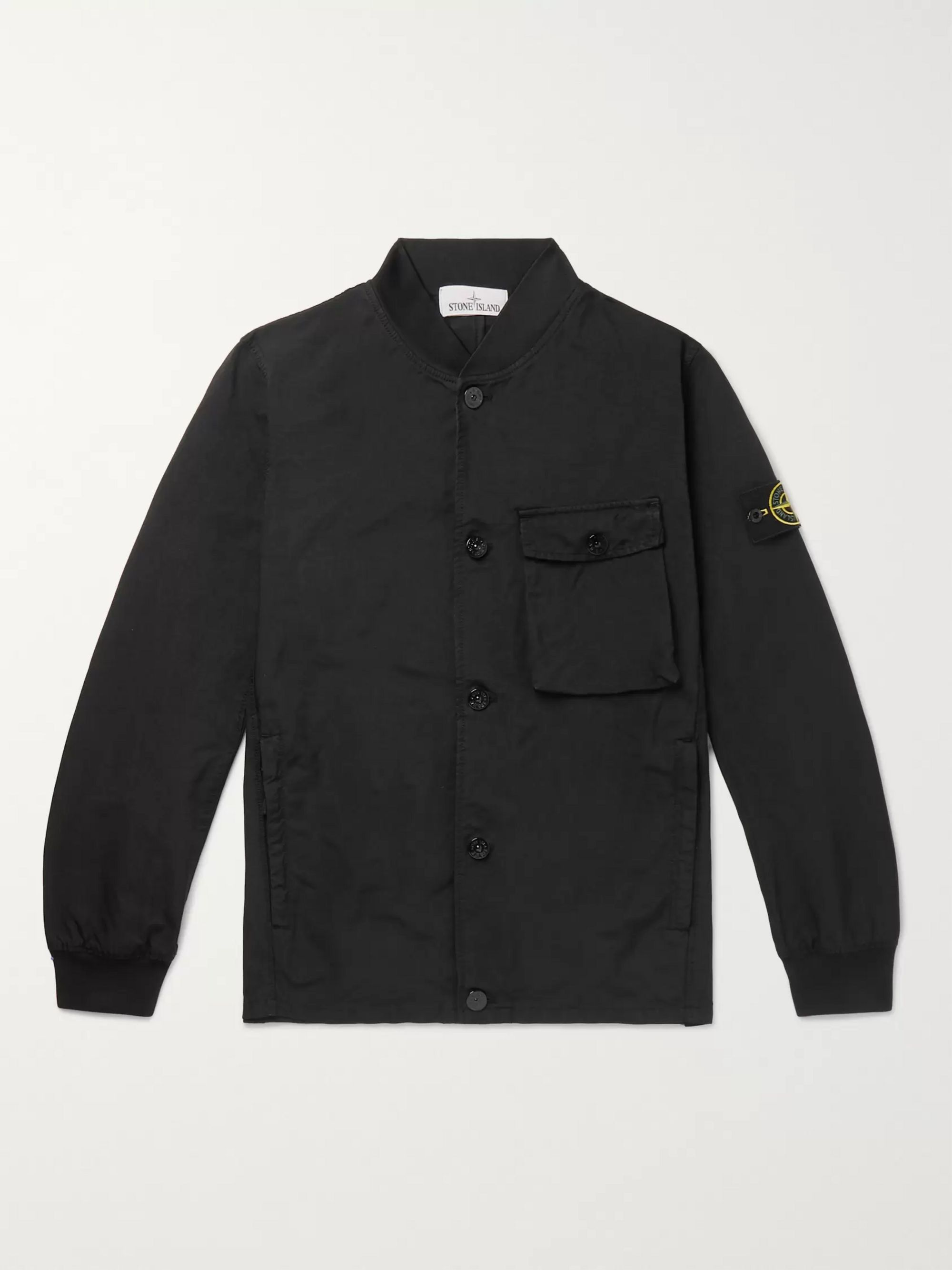 Stone Island Logo-Appliquéd Garment-Dyed Canvas Bomber Jacket