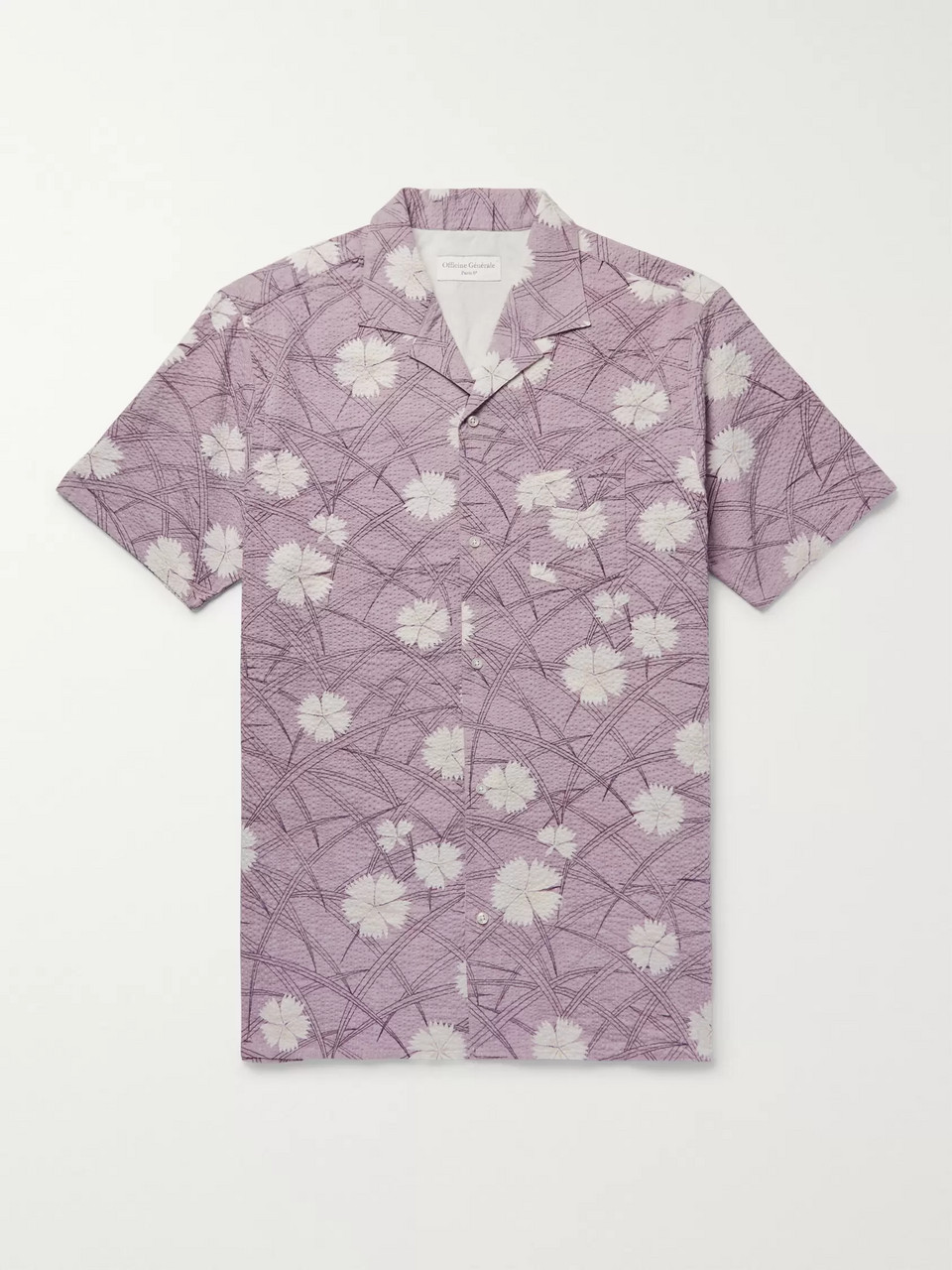 Officine Generale Camp-Collar Floral-Print Cotton-Seersucker Shirt