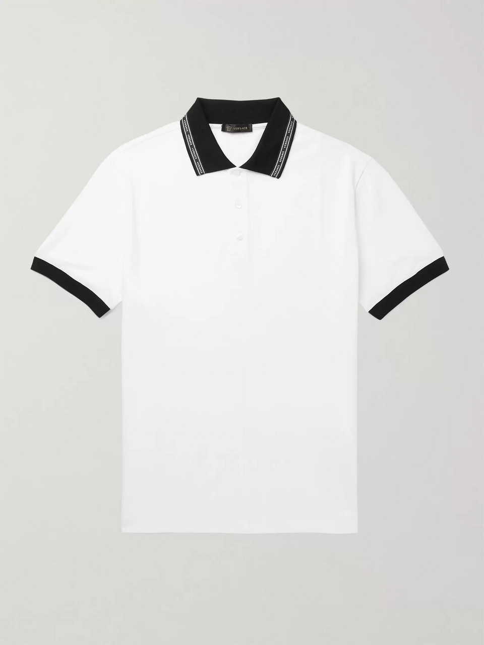 Versace Logo-Trimmed Cotton-Piqué Polo Shirt