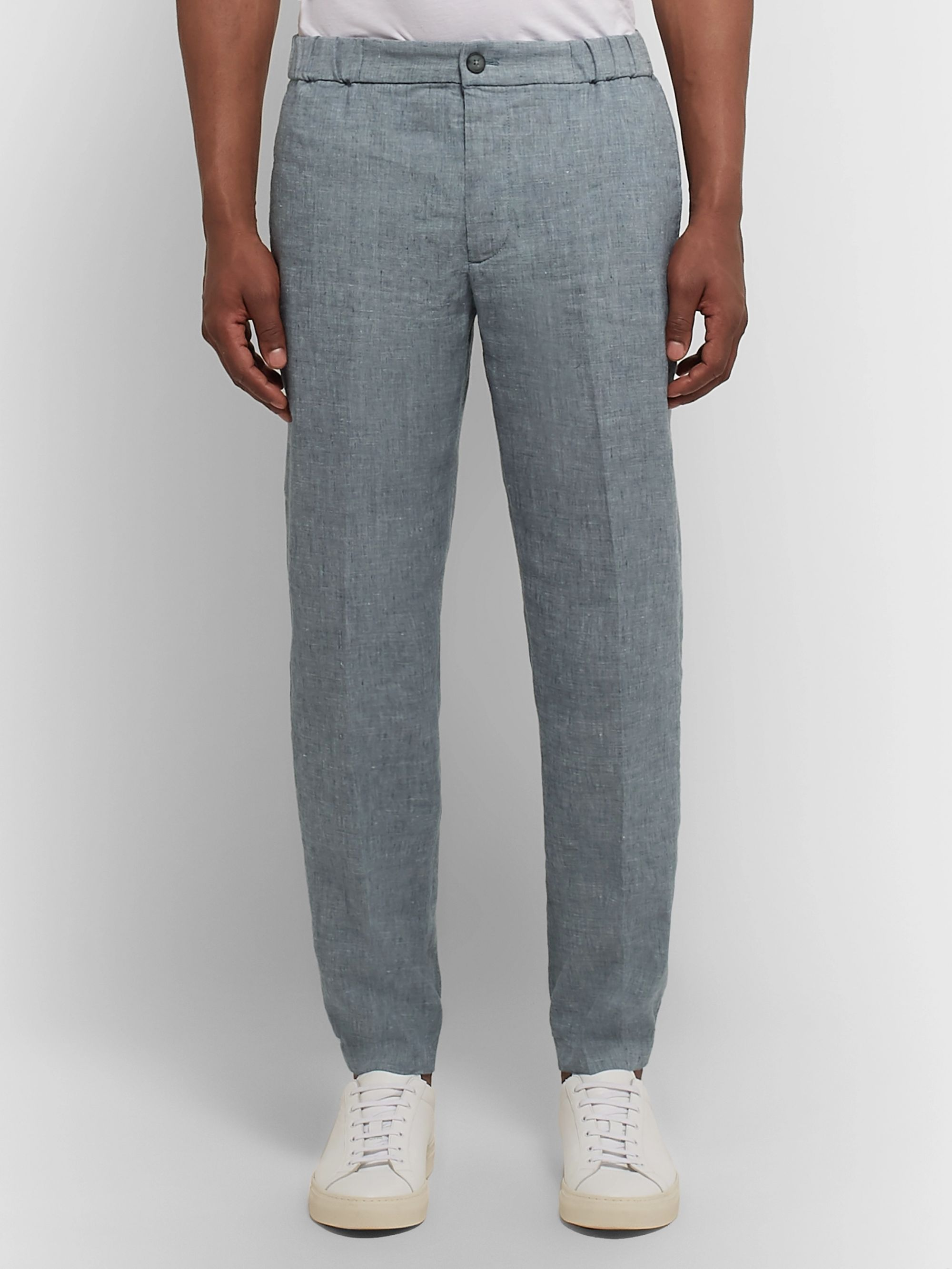 Club Monaco Lex Slim-Fit Tapered Mélange Linen-Blend Trousers