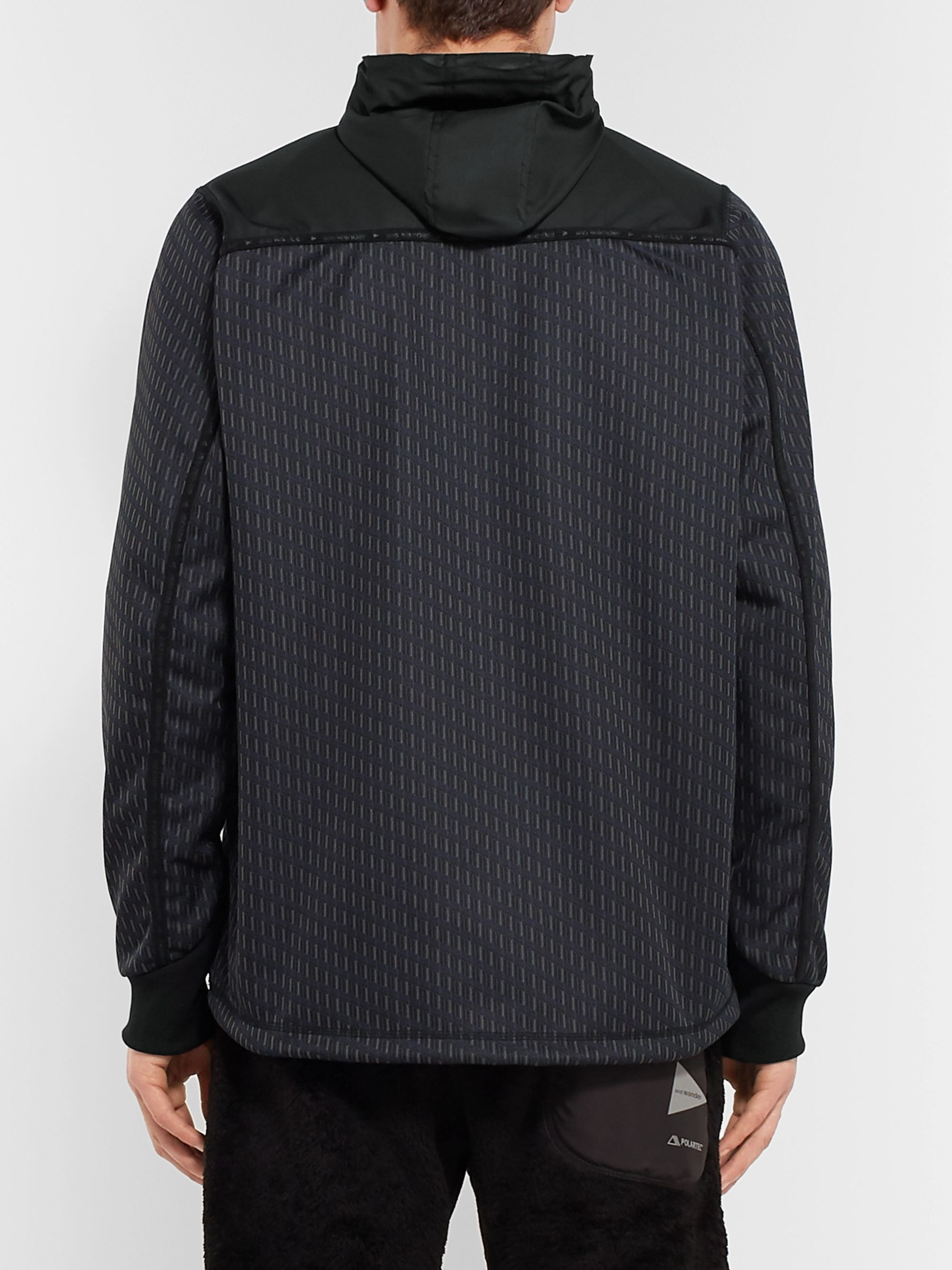 And Wander Reflective-Trimmed Fleece-Back Shell and Jacquard-Knit Hooded Jacket