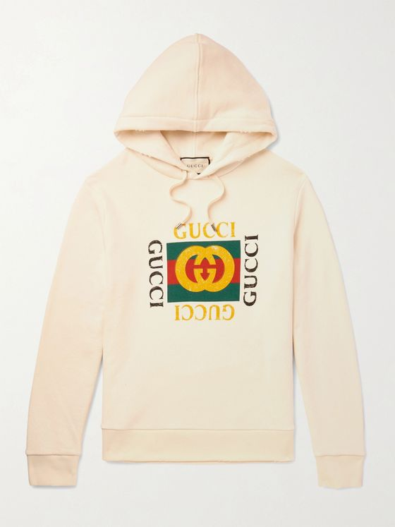Gucci Printed Loopback Cotton-Jersey Hoodie