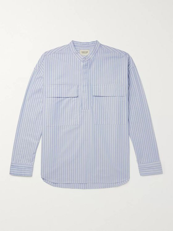 Fear of God Oversized Grandad-Collar Striped Cotton Oxford Half-Placket Shirt
