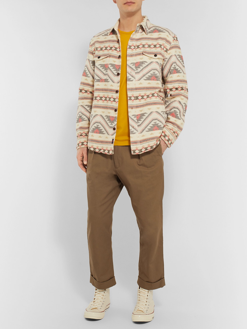 Faherty Durango Organic Brushed Cotton-Jacquard Shirt Jacket