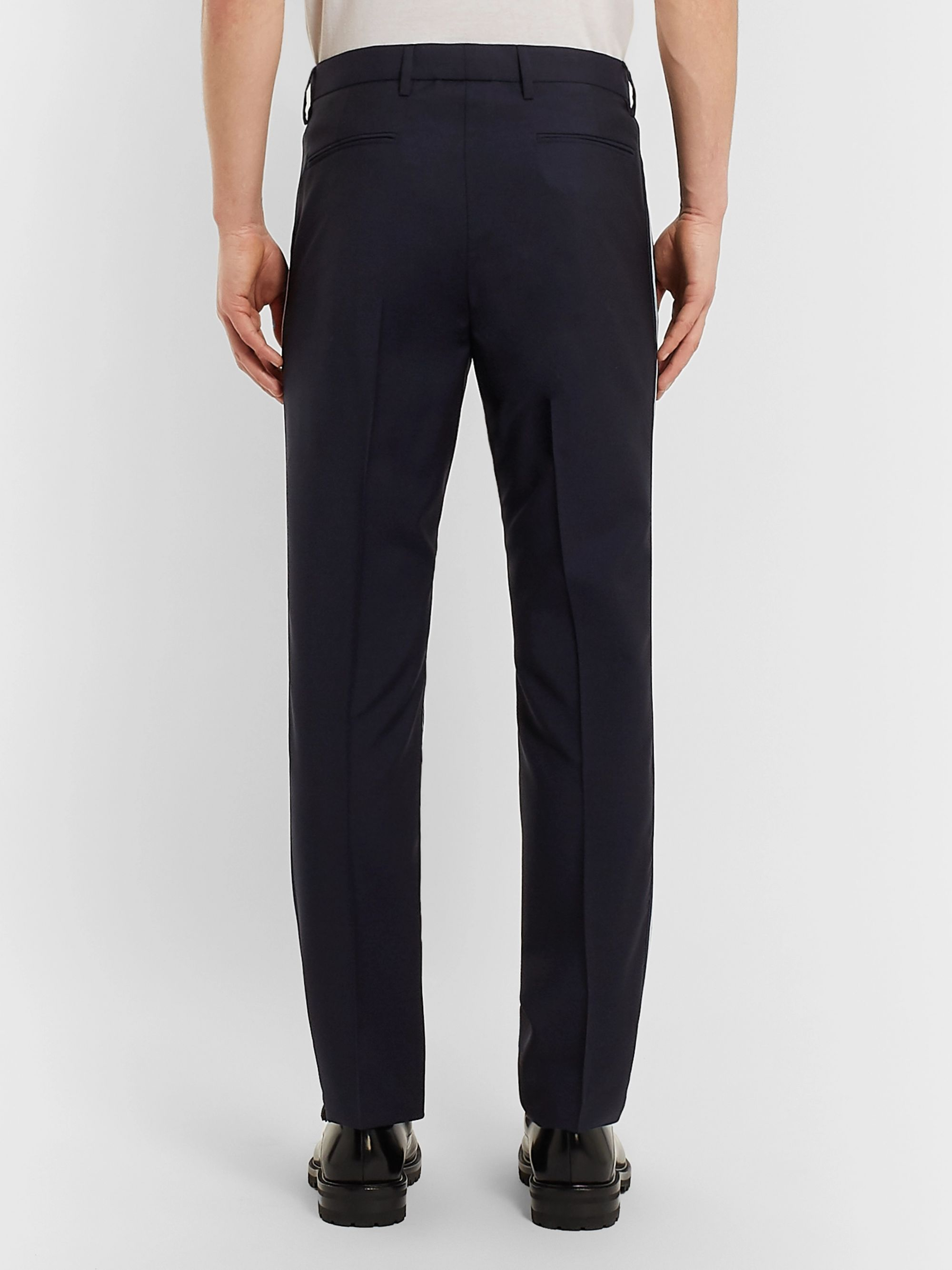 Valentino Navy Slim-Fit Stripe-Trimmed Wool and Mohair-Blend Trousers