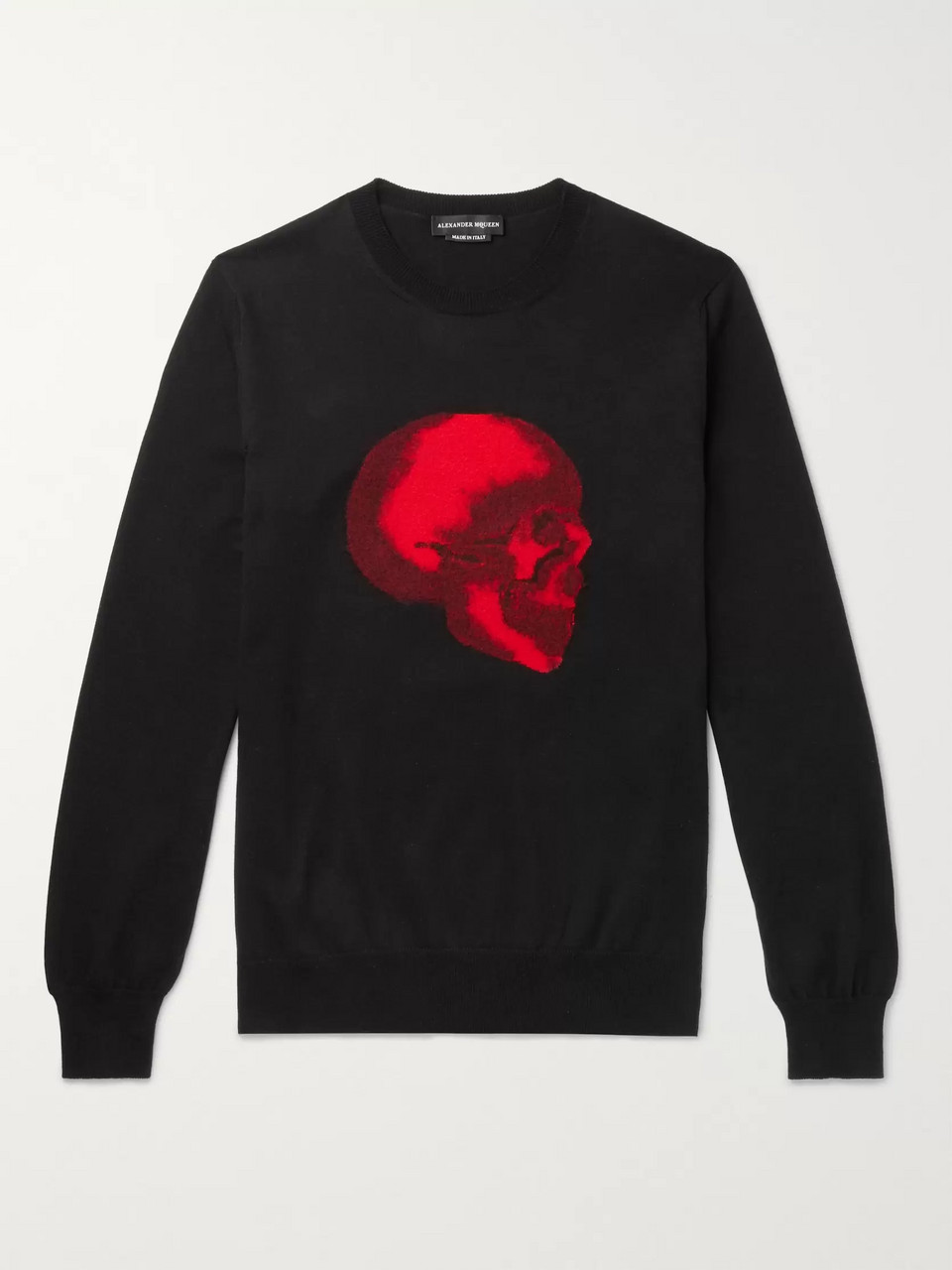 Alexander McQueen Slim-Fit Skull-Intarsia Cotton Sweater