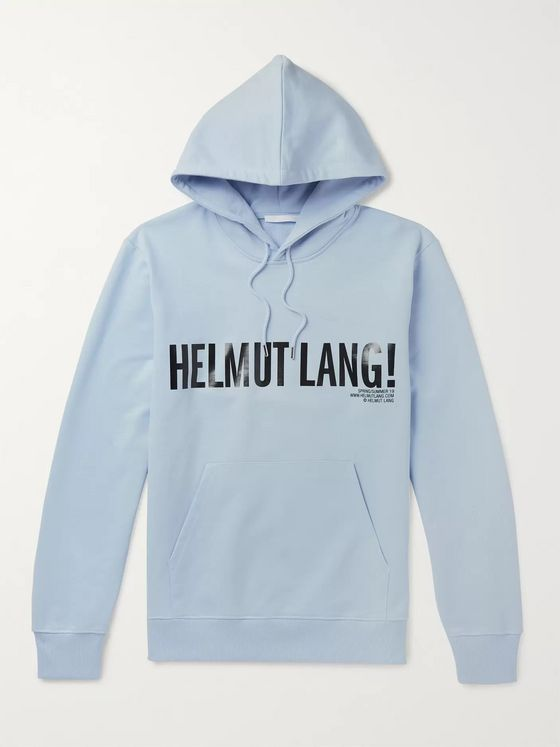 Helmut Lang Exclamation Logo-Print Loopback Cotton-Jersey Hoodie