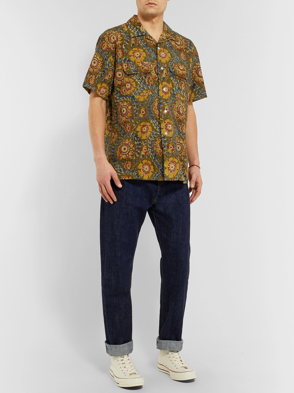 Beams Plus Camp-Collar Printed Cotton-Voile Shirt