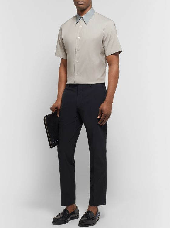 Prada Slim-Fit Contrast-Trimmed Stretch Cotton-Blend Poplin Shirt