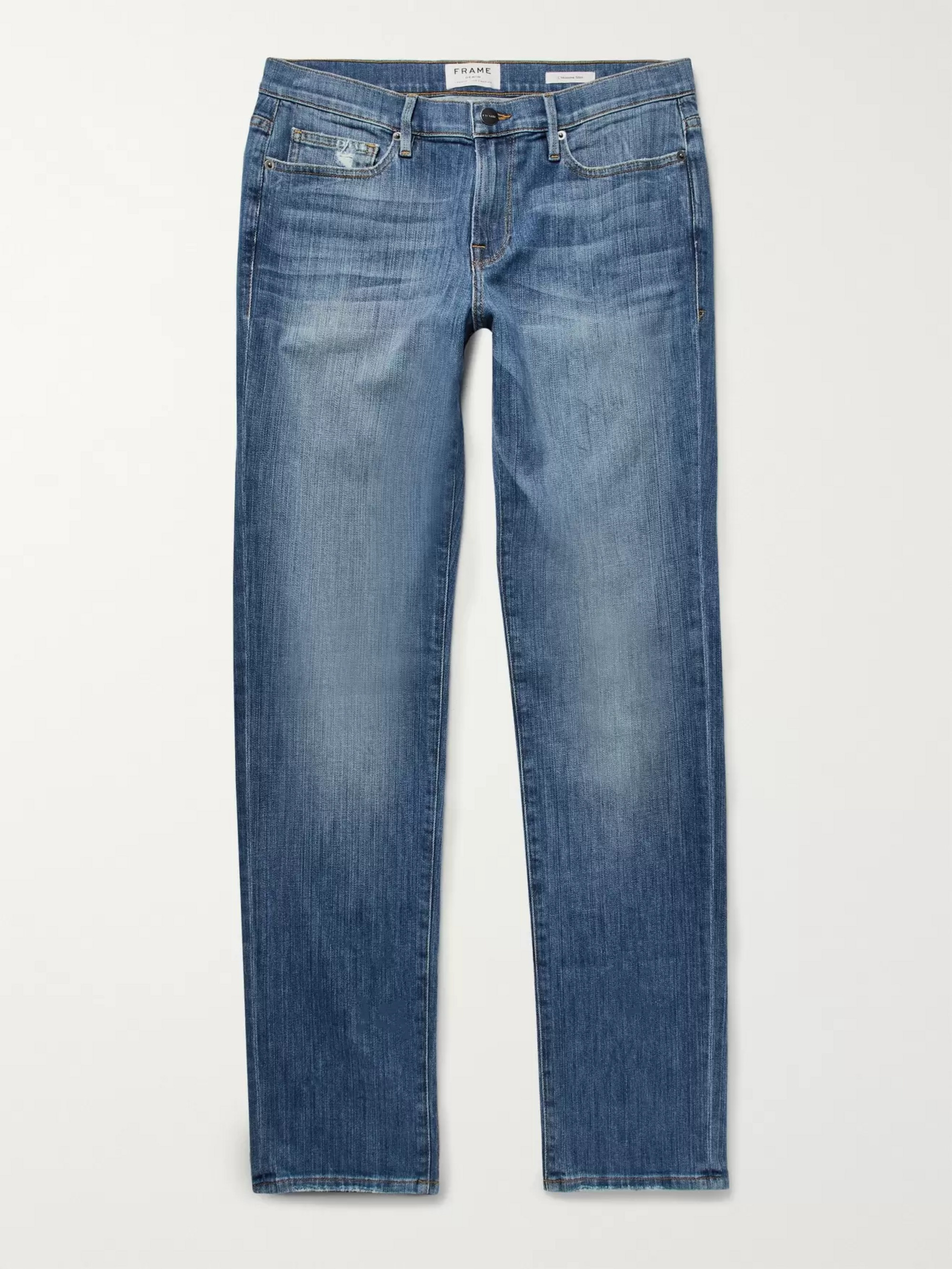 FRAME L'Homme Slim-Fit Distressed Stretch-Denim Jeans