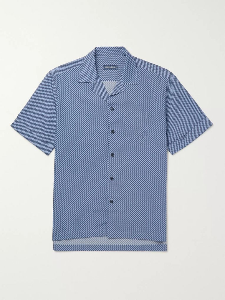 Frescobol Carioca Camp-Collar Printed Tencel Shirt