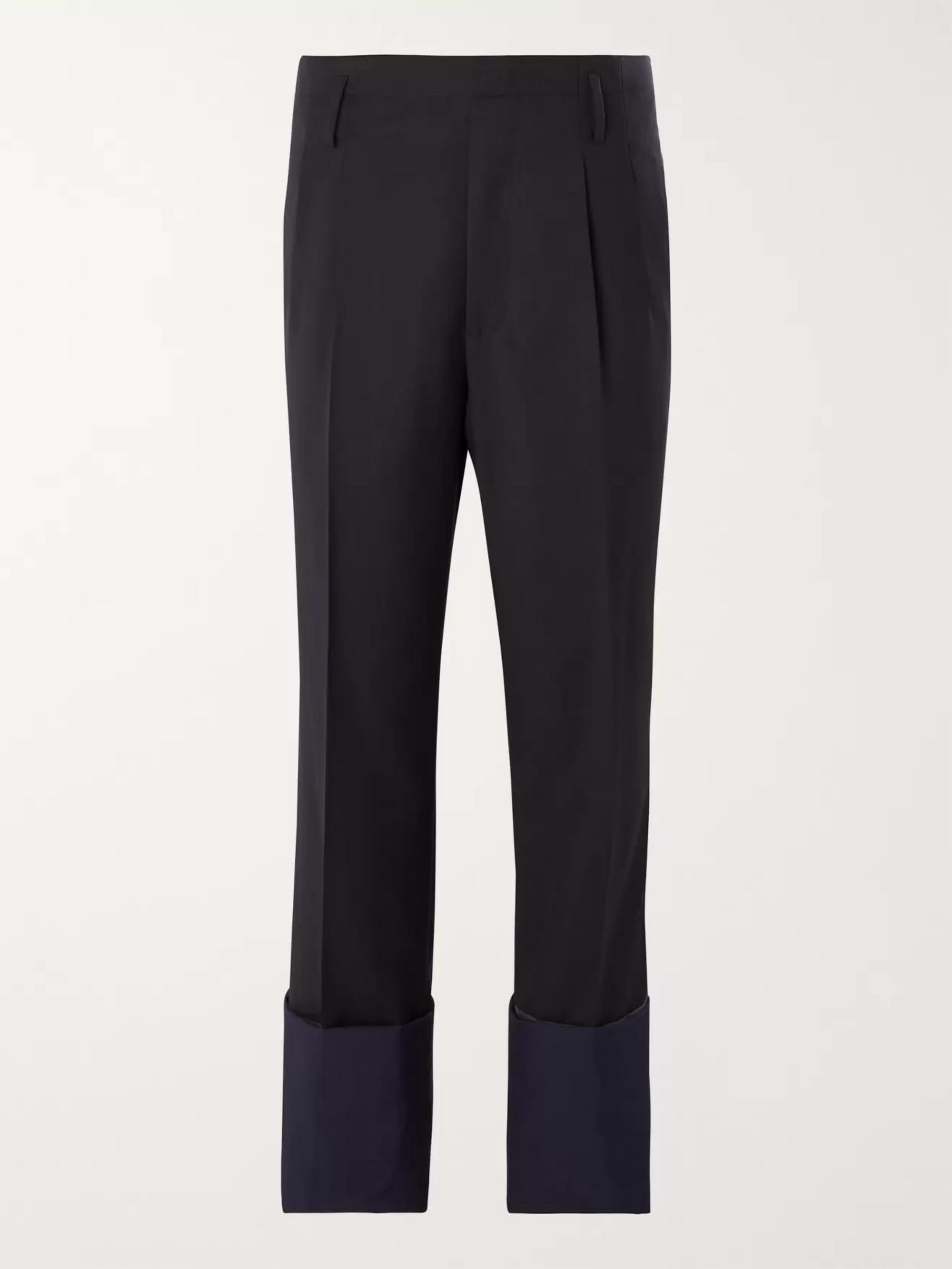 Lanvin Pleated Panelled Wool Trousers