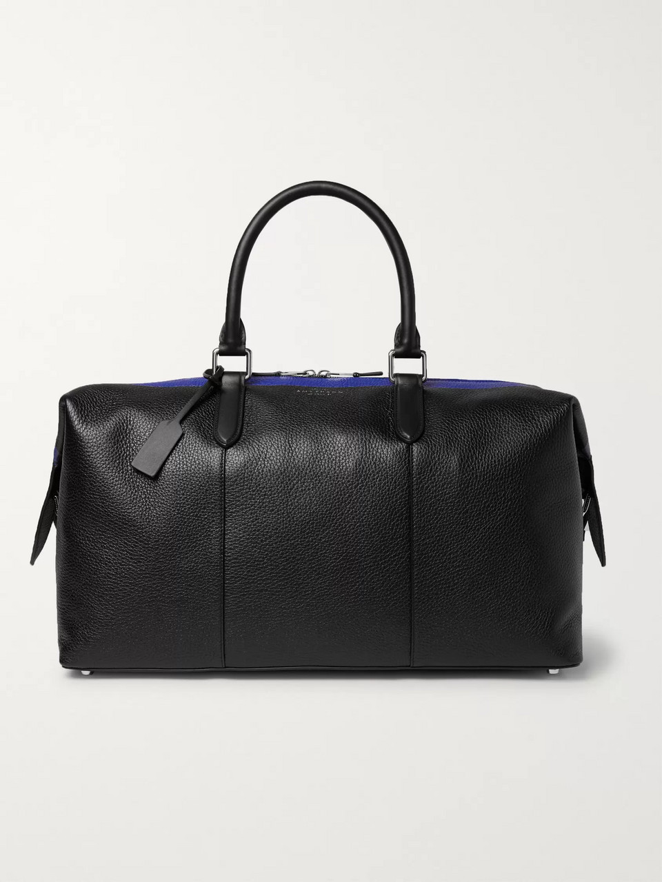 Smythson Burlington Striped Full-Grain Leather Holdall