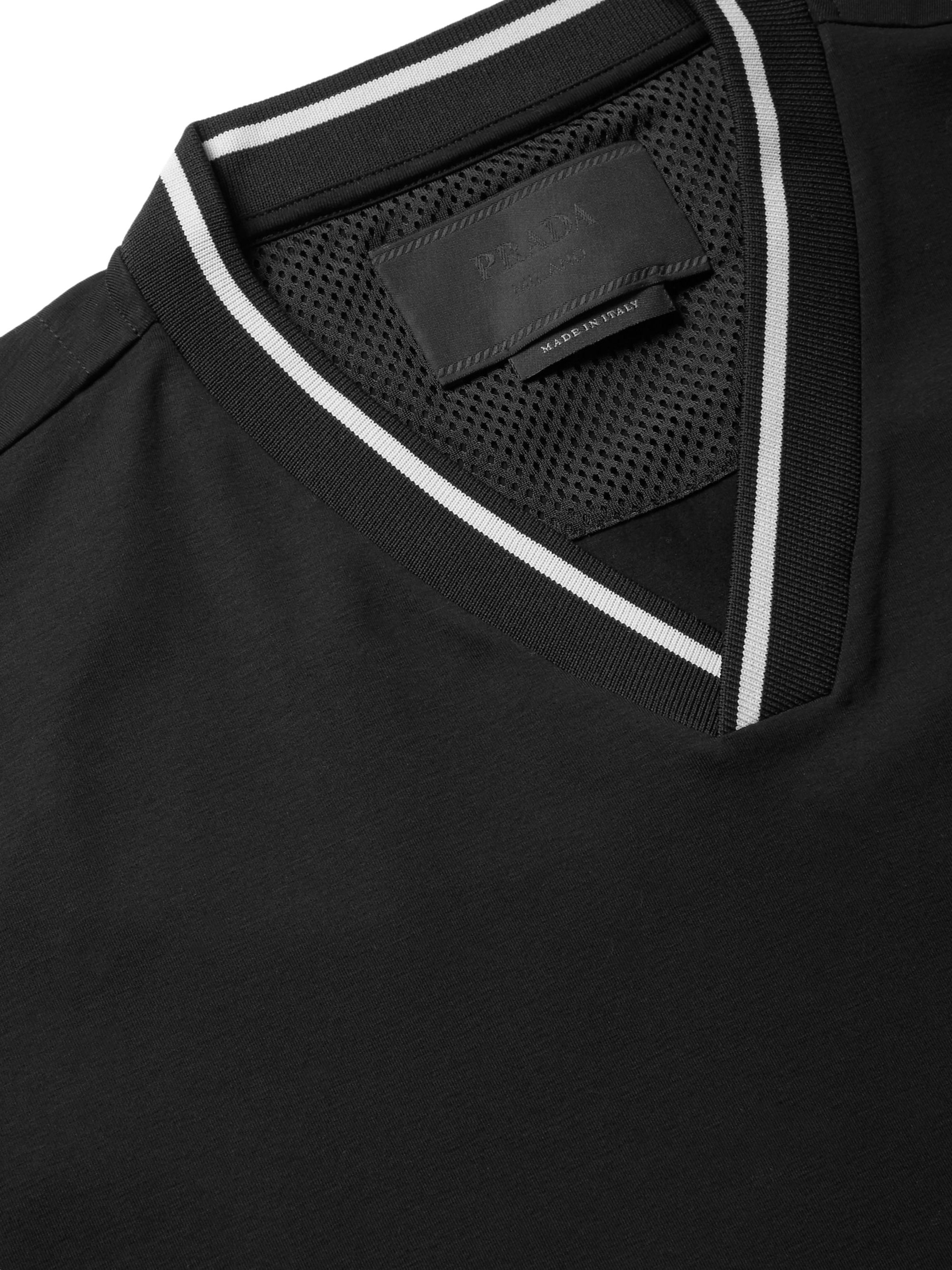 Prada Webbing-Trimmed Stretch-Cotton Jersey T-Shirt