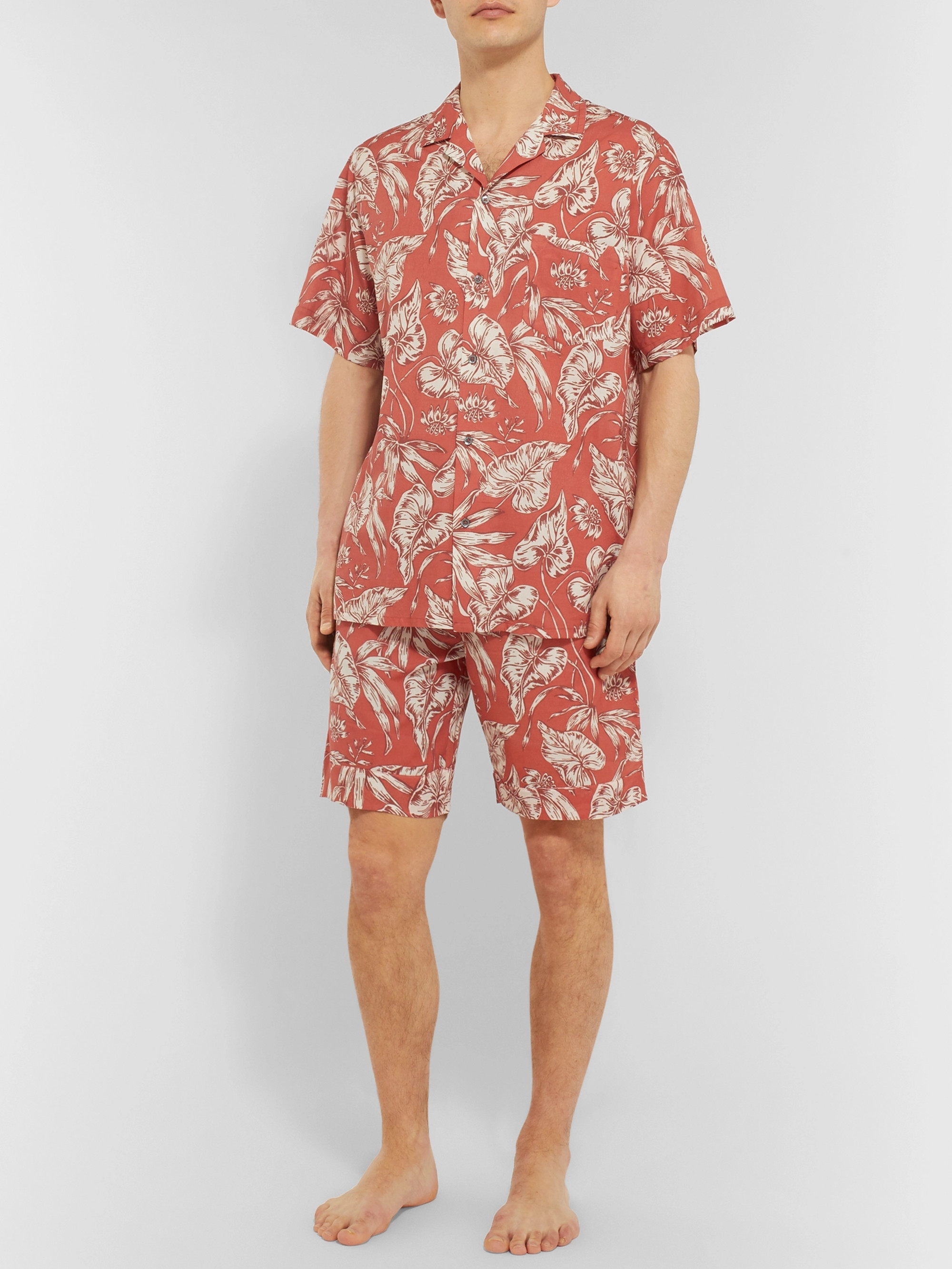 Desmond & Dempsey Cuban Printed Cotton Pyjama Shirt