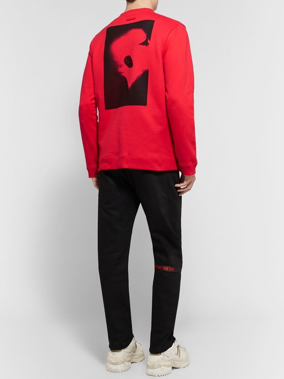 RAF SIMONS Printed Embroidered Loopback Cotton-Jersey Sweatshirt