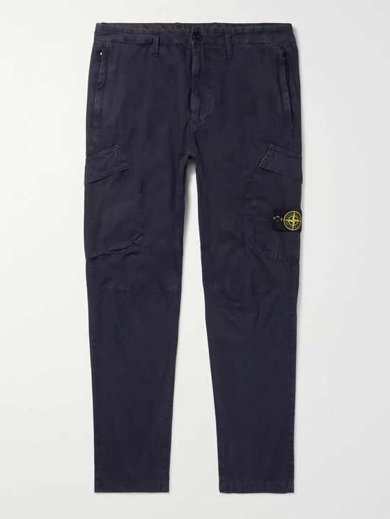 Stone Island Navy Slim-Fit Tapered Logo-Appliquéd Cotton Cargo Trousers