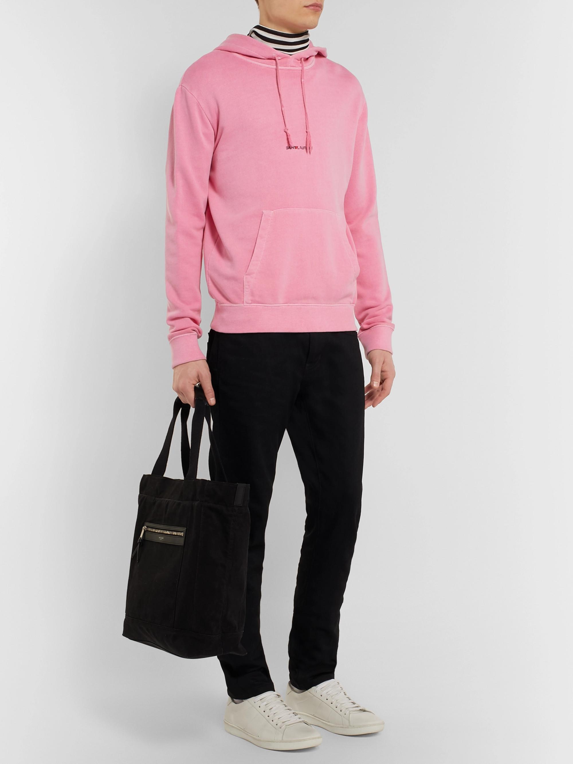 6185cbe5757 Pink Logo-Print Distressed Loopback Cotton-Jersey Hoodie | SAINT ...
