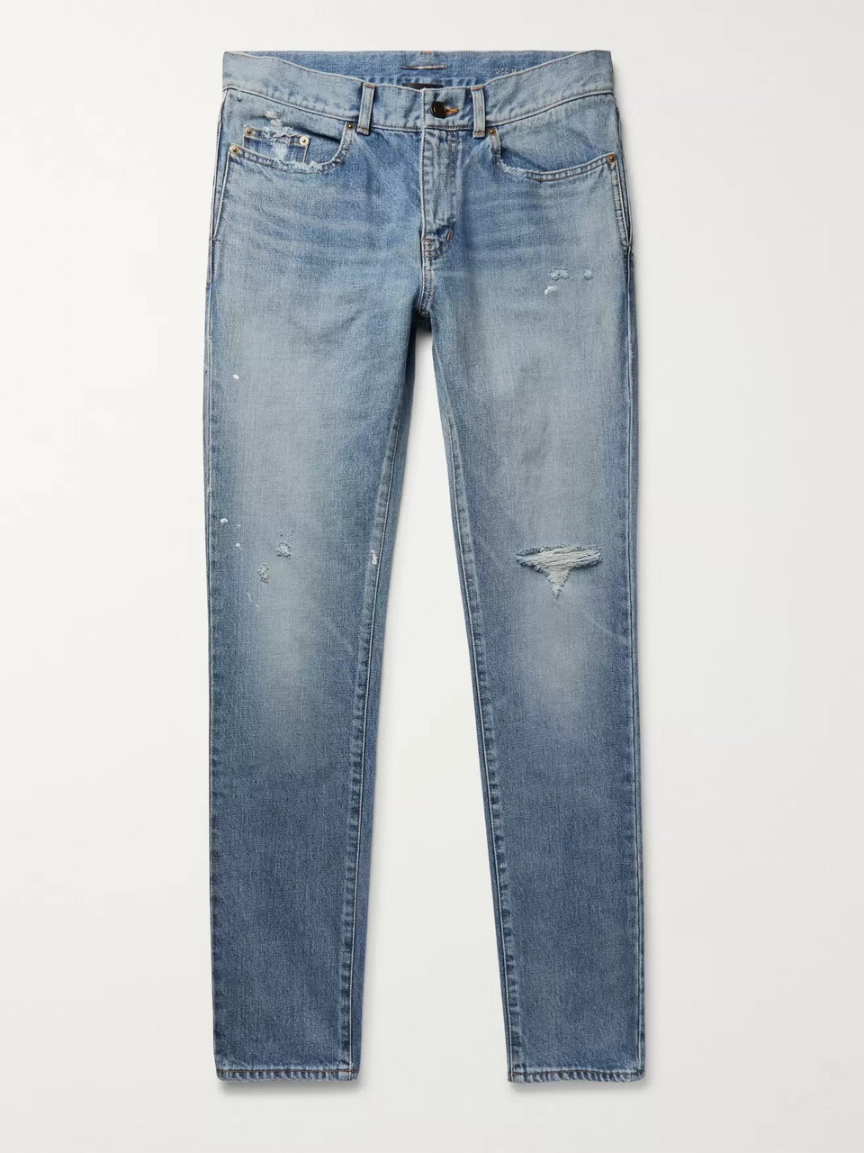 SAINT LAURENT Slim-Fit 15cm Paint-Splattered Distressed Denim Jeans