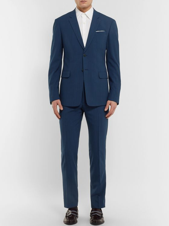 Prada Navy Slim-Fit Mélange Wool-Blend Suit Jacket
