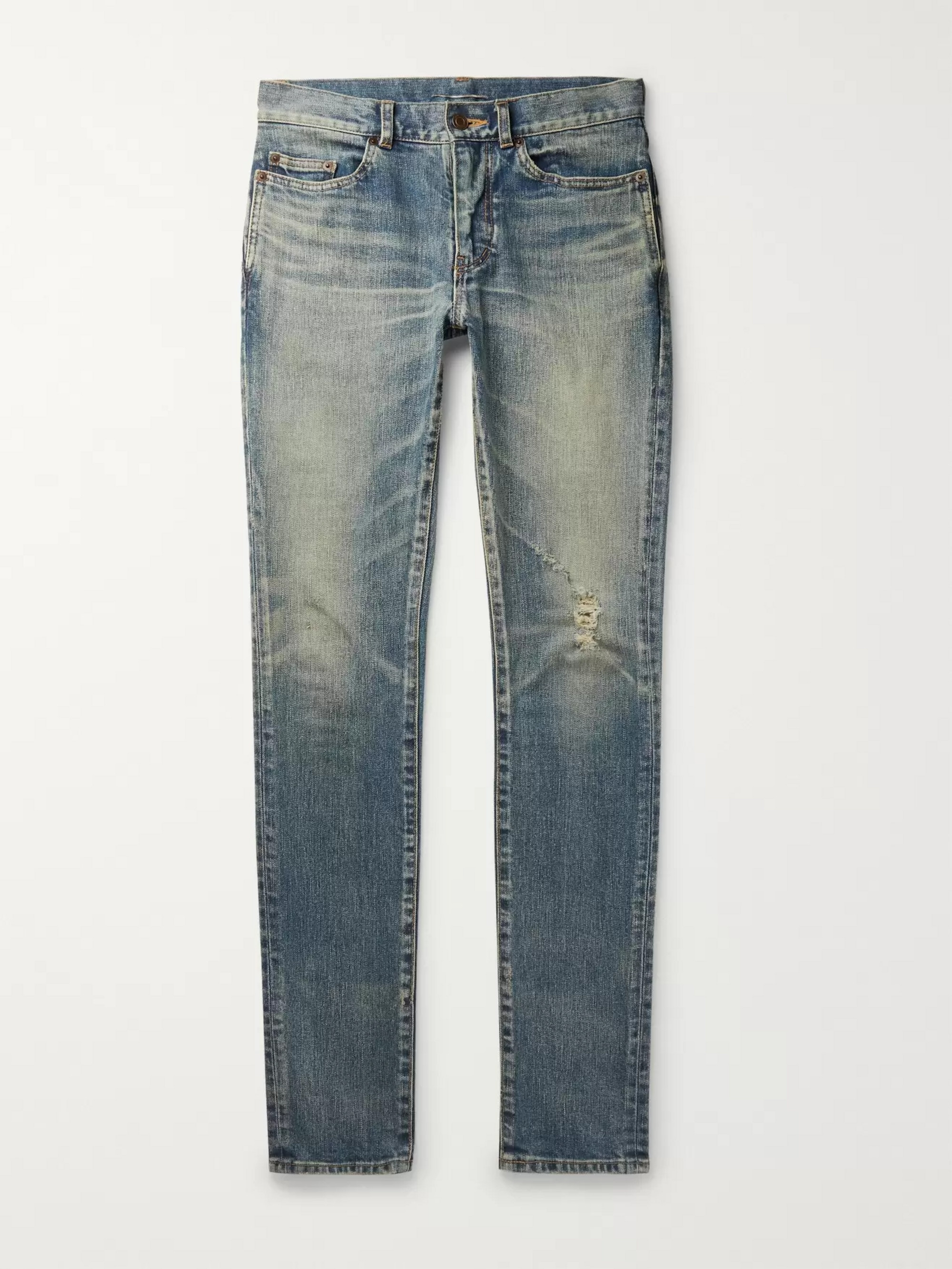 c3a2a86d0b0 Blue Skinny-Fit 15cm Hem Distressed Stretch-Denim Jeans | SAINT ...